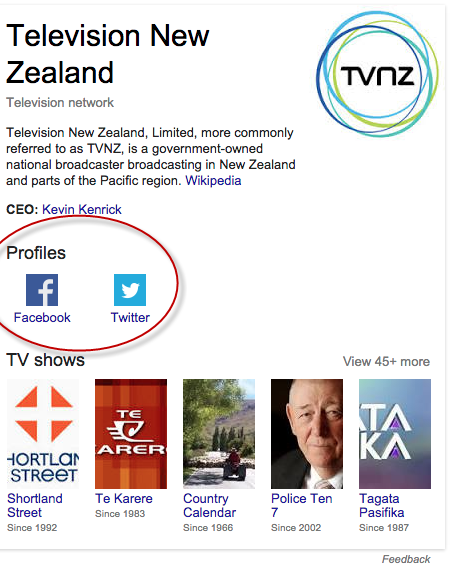 tvnz knowledge graph with highlight