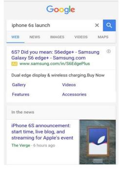 Samsung S6 guerrilla advert using Google AdWords