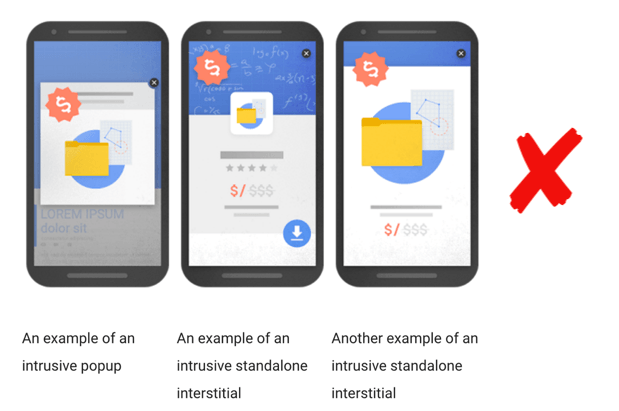Bad interstitials Google will penalise a site for in mobile rankings