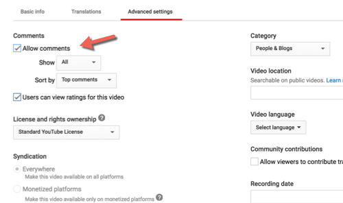 Blocking comments in YouTube Video Manager