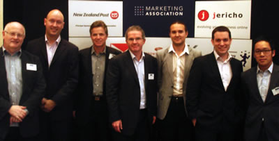 Speakers at NZ Marketing Association Search Marketing 'Brainy Breakfast'. Mark Sceats 3rd from left.