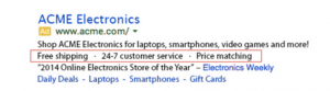 AdWords ad with Callout text highlighted