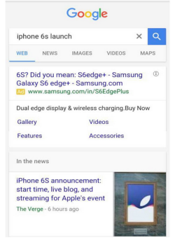 Samsung S6 guerrilla advert using Google AdWords