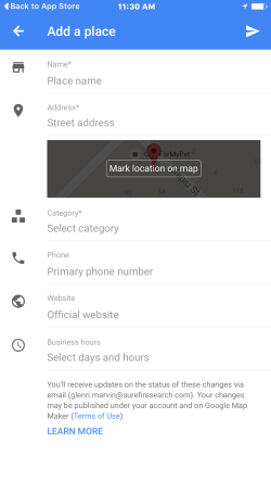 Add New Business Google Maps App