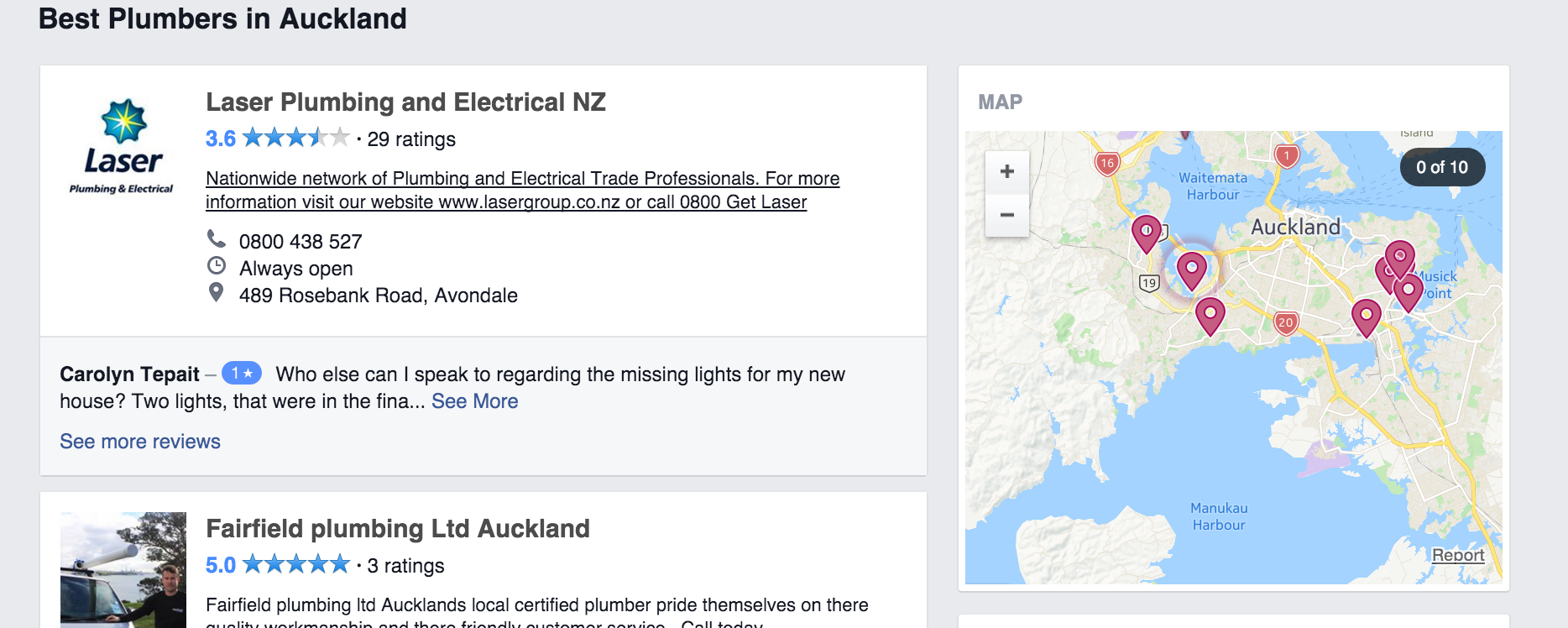 Facebook Maps Listing