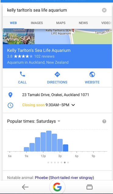 Mobile Google result for Kelly Tarltons