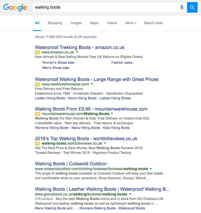 walking boots google uk