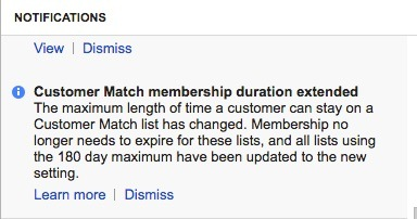 customer match notification