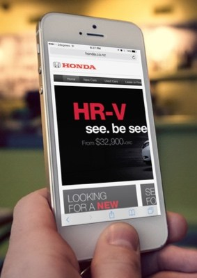 Honda NZ website viewed on an iphone