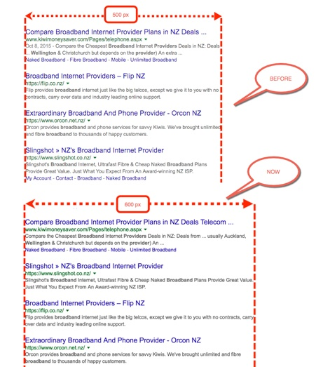 Google SERP changes