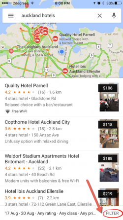 auckland hotel search using Google Maps