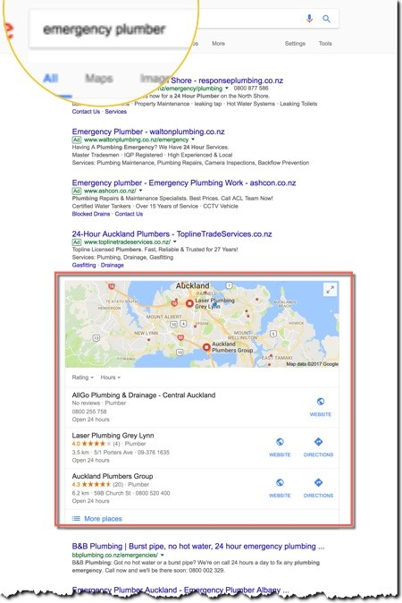 Google local search results for Auckland